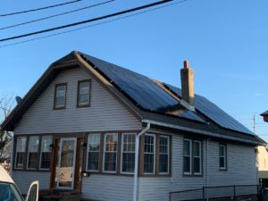 Solar panels installed on a house.