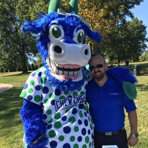 One of our PosiGen sales representatives poses with a local Connecticut mascot.